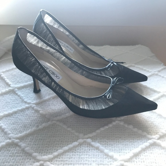 fadd050b08f35 Jimmy Choo Shoes | Kitten Heel Pumps Black Satin Mesh Lace | Poshmark